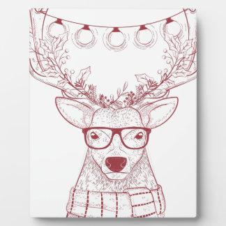 Hipster reindeer plaque