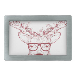Hipster reindeer rectangular belt buckle