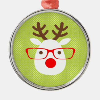 Hipster Reindeer Silver-Colored Round Ornament