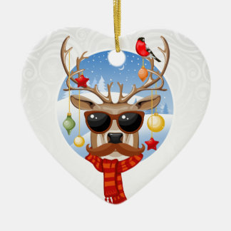 Hipster Reindeer Winter Holiday Edition Ceramic Heart Ornament