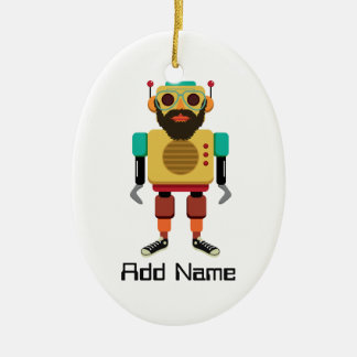 Hipster Retro Robot Ceramic Ornament