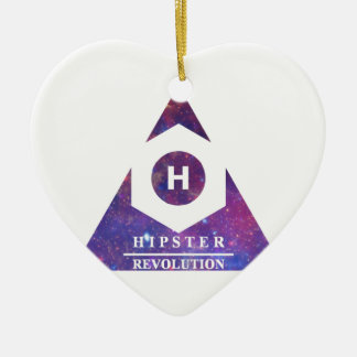 Hipster Revolution H Ceramic Heart Ornament