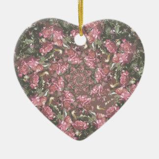Hipster roses ceramic heart ornament