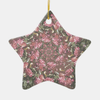 Hipster roses ceramic star ornament