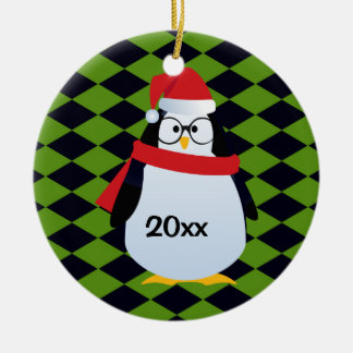 Hipster Santa Christmas Penguin on Green and Black Round Ceramic Ornament