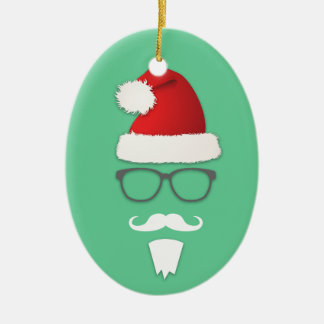 Hipster Santa Claus Ceramic Oval Ornament
