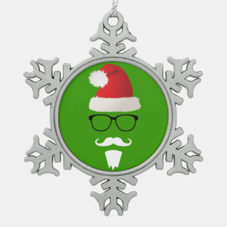 Hipster Santa Claus Pewter Snowflake Ornament