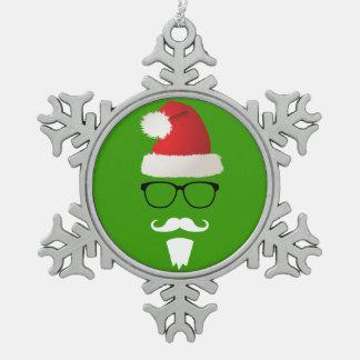 Hipster Santa Claus Pewter Snowflake Ornament