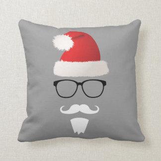 Hipster Santa Claus Throw Pillow
