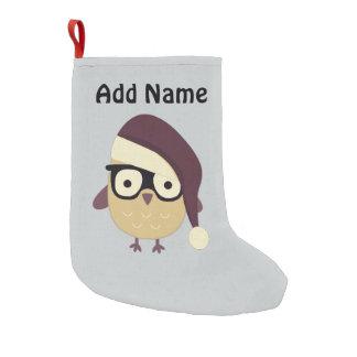 Hipster Santa Owl Small Christmas Stocking