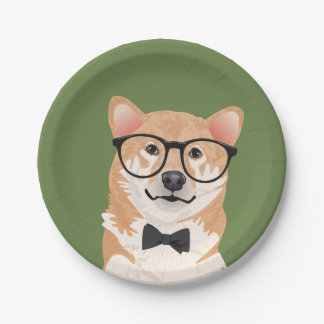 Hipster Shiba Inu Paper Plate Party