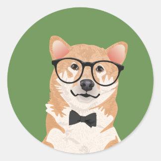 Hipster Shiba Inu Sticker