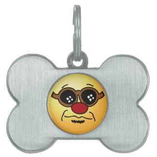 Hipster Smiley Face Grumpey Pet Tags