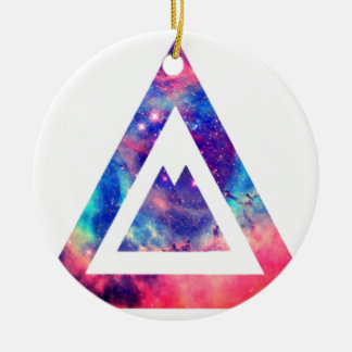 Hipster space triangle round ceramic ornament