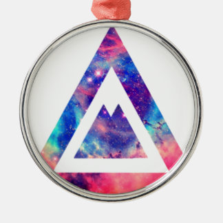 Hipster space triangle Silver-Colored round ornament