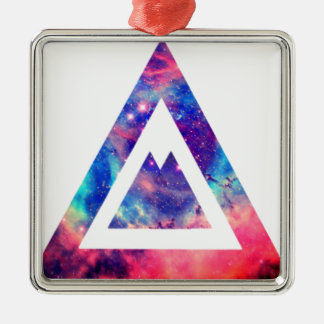 Hipster space triangle Silver-Colored square ornament