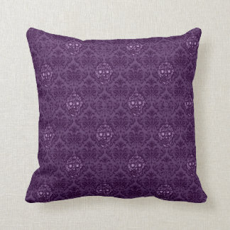 Hipster sugar SKULL BAROQUE pattern purple Throw Pillow