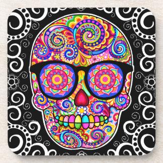 Hipster Sugar Skull Coaster Set of 6 - Colorful!