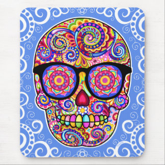 Hipster Sugar Skull Mousepad - Day of the Dead Art
