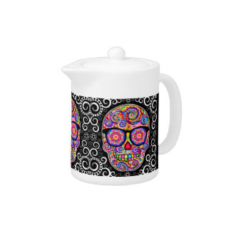 Hipster Sugar Skulls Teapot - Day of the Dead Art
