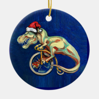 Hipster T-Rex for X-Mas Round Ceramic Ornament