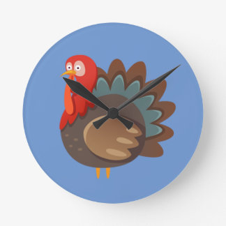 Hipster Thanksgiving Round Clock