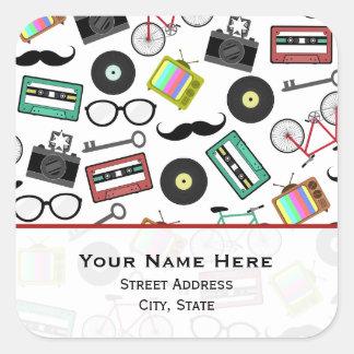 Hipster Themed  Address Sticker
