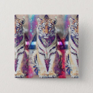 Hipster tiger - tiger art - triangle tiger - tiger 2 inch square button