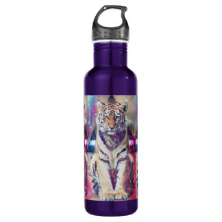 Hipster tiger - tiger art - triangle tiger - tiger 710 ml water bottle