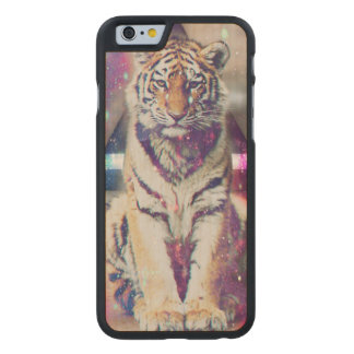 Hipster tiger - tiger art - triangle tiger - tiger carved maple iPhone 6 case