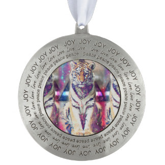 Hipster tiger - tiger art - triangle tiger - tiger pewter ornament