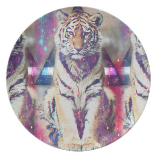 Hipster tiger - tiger art - triangle tiger - tiger plate