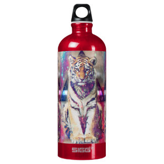 Hipster tiger - tiger art - triangle tiger - tiger water bottle