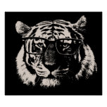 Hipster Tiger With Glasses Poster