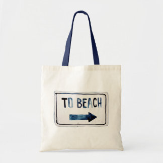 "Hipster ""To Beach"" Sign Watercolor Indigo Blue"