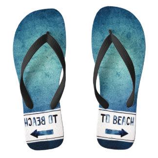 "Hipster ""To Beach"" Sign Watercolor Indigo Blue Flip Flops"