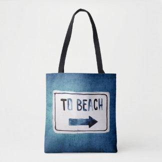 "Hipster ""To Beach"" Sign Watercolor Indigo Blue Tote Bag"
