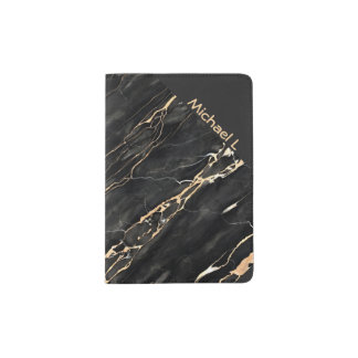 Hipster Trendy Marble Black Gold Gray Personalized Passport Holder