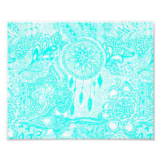 Hipster turquoise dreamcatcher floral doodles photograph