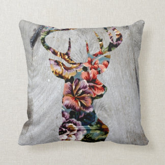Hipster Vintage Floral Deer Head Silhouette Throw Pillow