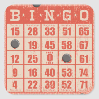hipster vintage red bingo card game board game square sticker