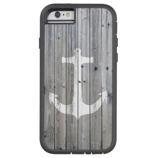 Hipster Vintage White Nautical Anchor on Gray Wood iPhone 6 Case