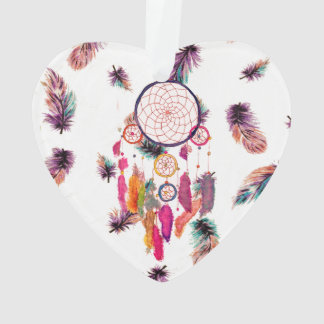 Hipster Watercolor Dreamcatcher Feathers Pattern