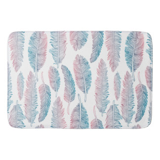 Hipster Watercolor Handdrawn blue pink feather Bath Mat