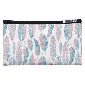 Hipster Watercolor Handdrawn blue pink feather Cosmetic Bags