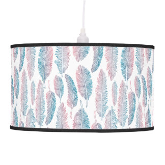 Hipster Watercolor Handdrawn blue pink feather Hanging Pendant Lamps