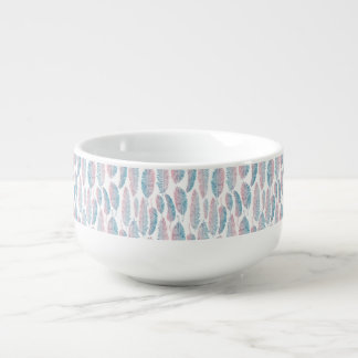 Hipster Watercolor Handdrawn blue pink feather Soup Mug