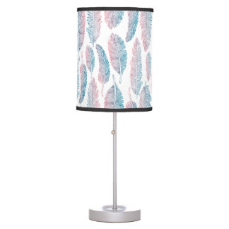 Hipster Watercolor Handdrawn blue pink feather Table Lamp