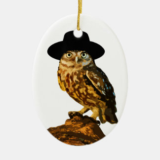 hipster wise owl sticker ceramic oval ornament