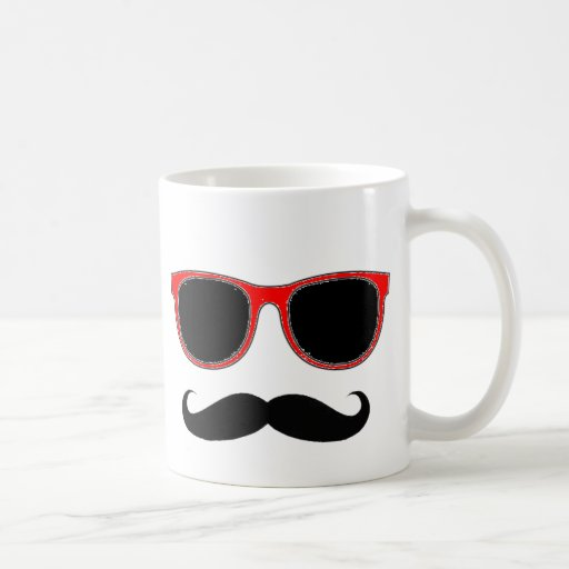 Hipster with Red Shades Coffee Mugs